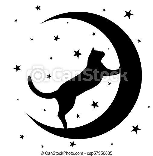 moon., chat noir - csp57356835
