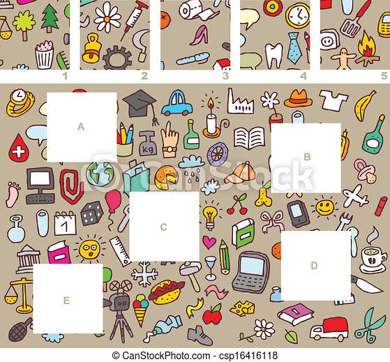 morceaux, visuel, jeu, allumette - csp16416118