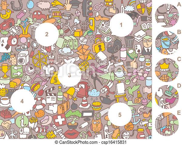 morceaux, visuel, jeu, allumette - csp16415831