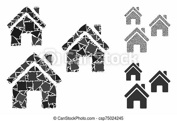 mosaïque, articles, village, cahoteux, icône, bâtiments - csp75024245