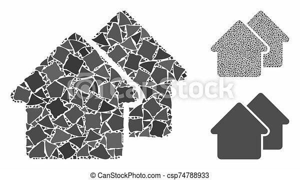 mosaïque, irrégulier, village, parties, icône - csp74788933