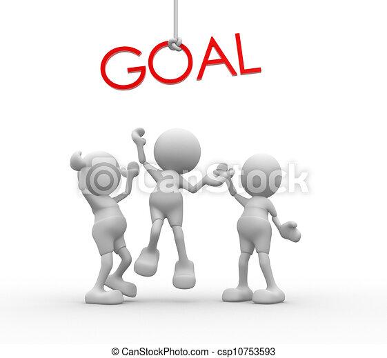 """mot, gens, -, """"goal"""", hommes, personne, rouges, 3d - csp10753593"""
