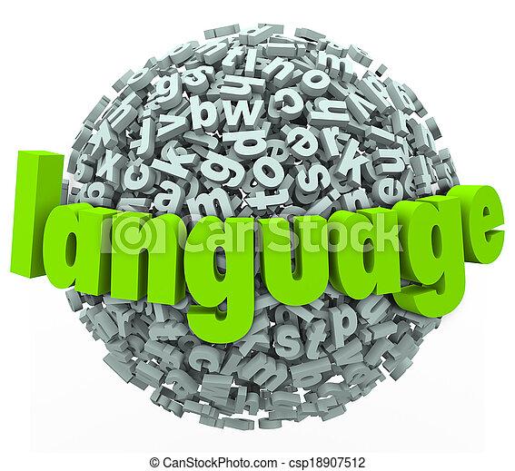 mot, langue, étranger, sphère, lettre, apprendre, parler, parler - csp18907512