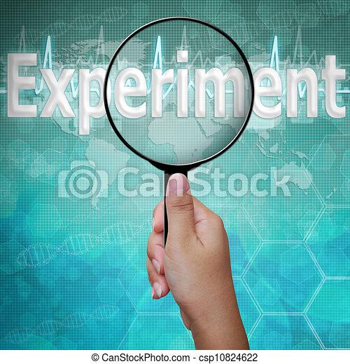 mot, monde médical, verre, expérience, fond, magnifier - csp10824622