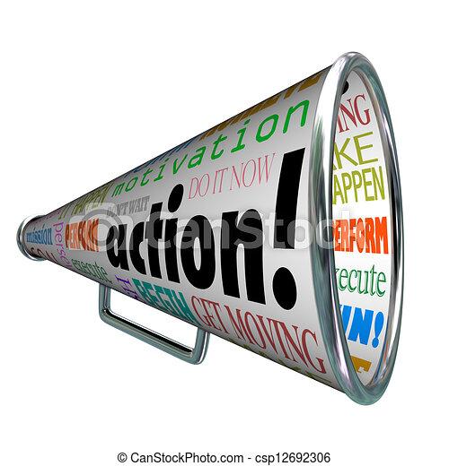 motivation, mission, bullhorn, mots, action, porte voix - csp12692306