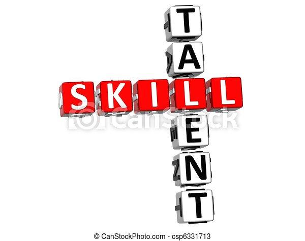 mots croisés, compétence, talent - csp6331713