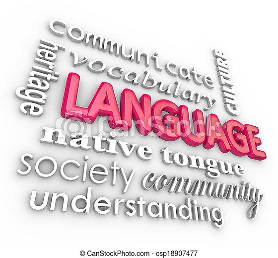 mots, langue, collage, communication, compréhension, apprentissage, 3d - csp18907477