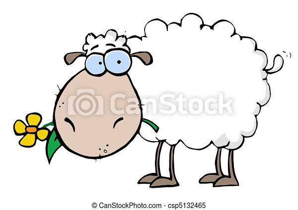 mouton, fleur, bouche - csp5132465