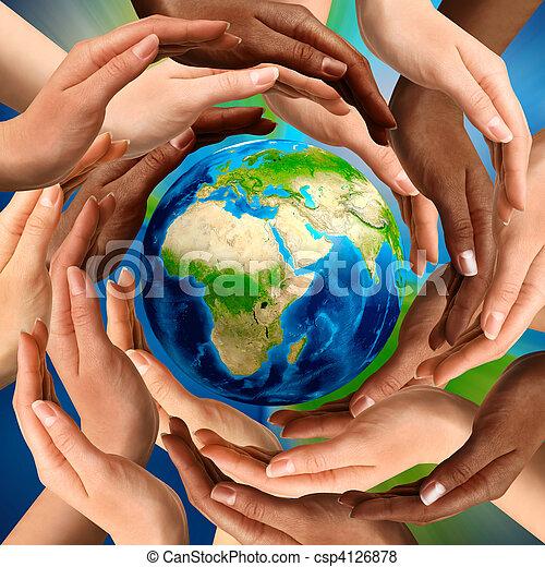 multiracial, globe terre, autour de, mains - csp4126878