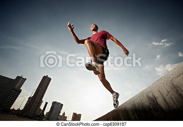 mur, hispanique, courant, sauter, homme - csp6309187