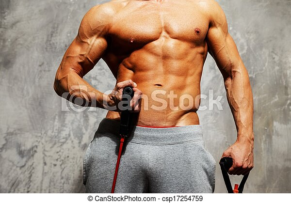 musculaire, exercice, corps, homme, beau, fitness - csp17254759