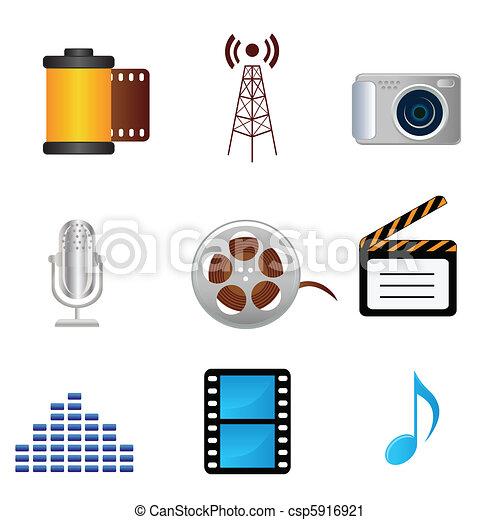musique, photographie, icônes, pellicule, média - csp5916921