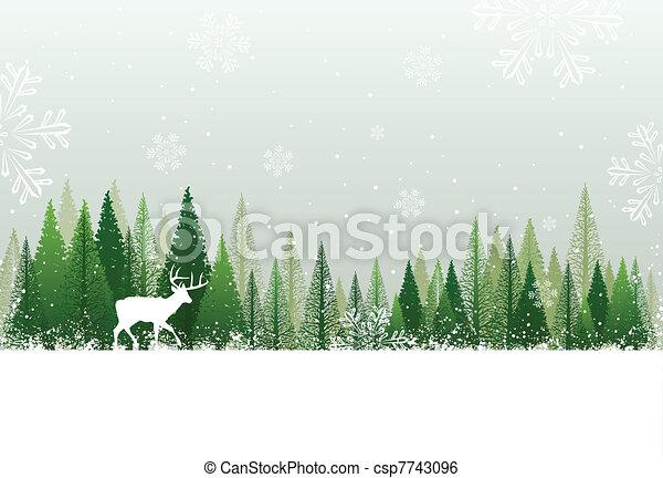 neigeux, forêt, fond, hiver - csp7743096