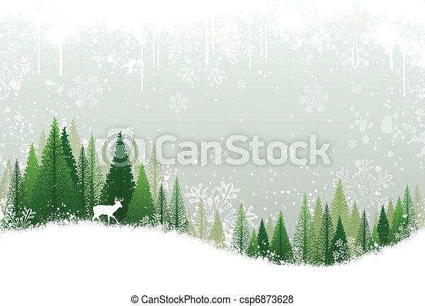 neigeux, forêt, fond, hiver - csp6873628
