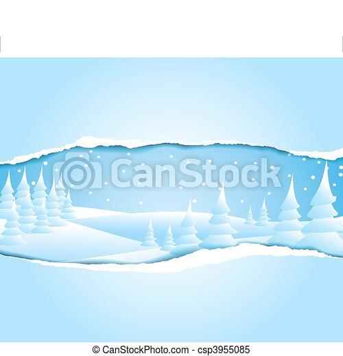 neigeux, paysage hiver, glacial - csp3955085