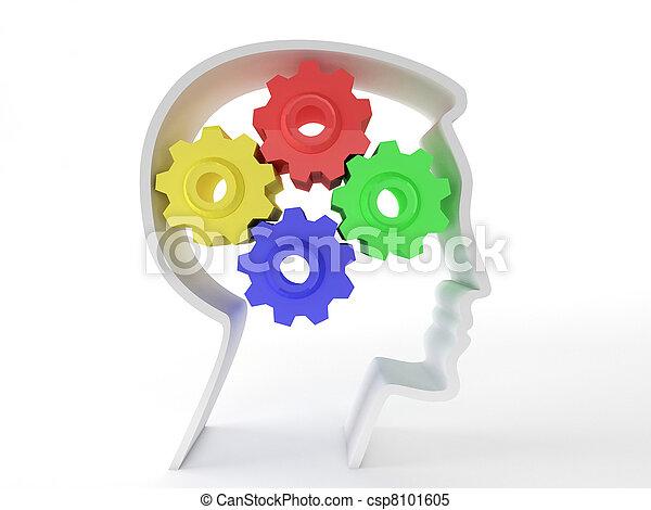 neurologique, symbole, tête, fonctionnement, représenté, santé, représenter, depression., engrenages, cerveau, malades, intelligence, mental, humain, fonction, forme - csp8101605