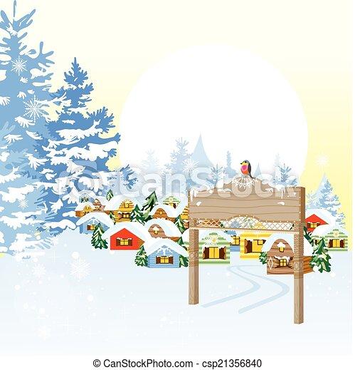 noël carte, village - csp21356840