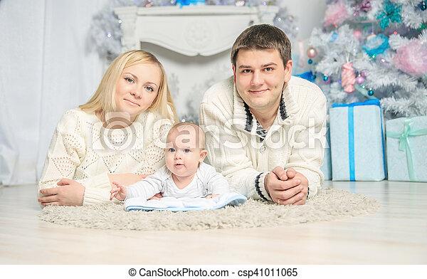 noël., portrait, famille, heureux - csp41011065