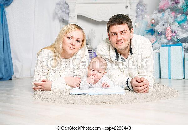 noël., portrait, famille, heureux - csp42230443