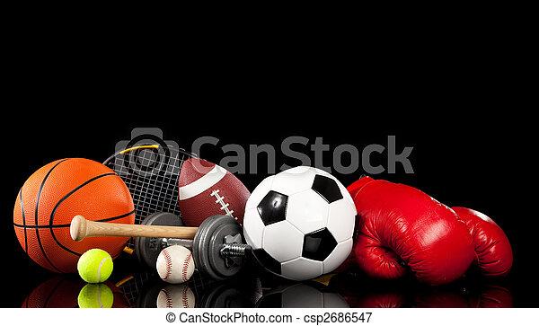 noir, assorti, équipement, sports - csp2686547