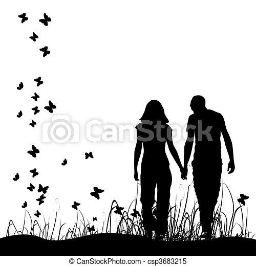 noir couple, silhouette, pré - csp3683215