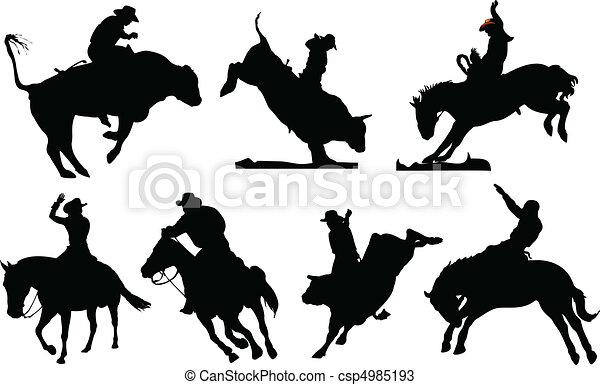 noir, rodéo, sept, silhouettes. - csp4985193