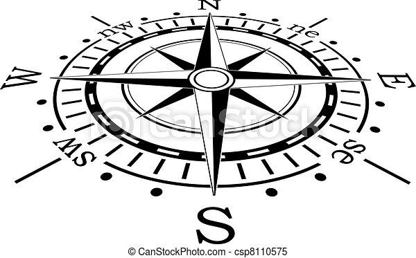 noir, vecteur, compas - csp8110575