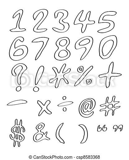 nombres, manuscrit - csp8583368
