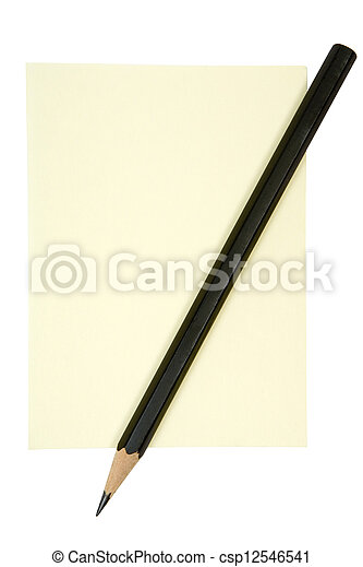 note, crayon, jaune - csp12546541