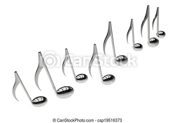 notes, musique, isolé - csp19516373