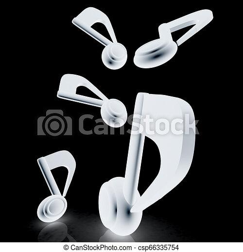 notes., render., darknes, arrière-plan., noir, musique, 3d - csp66335754