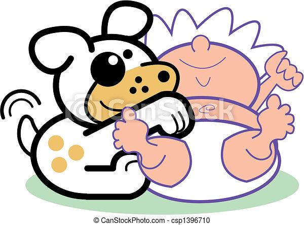nourrisson, art, agrafe, &, chien, bébé, dessin animé - csp1396710