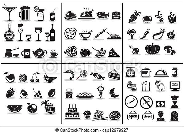 nourriture, 77, ensemble, boisson, icônes - csp12979927