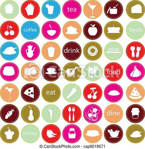 nourriture, boissons, icônes - csp9018671