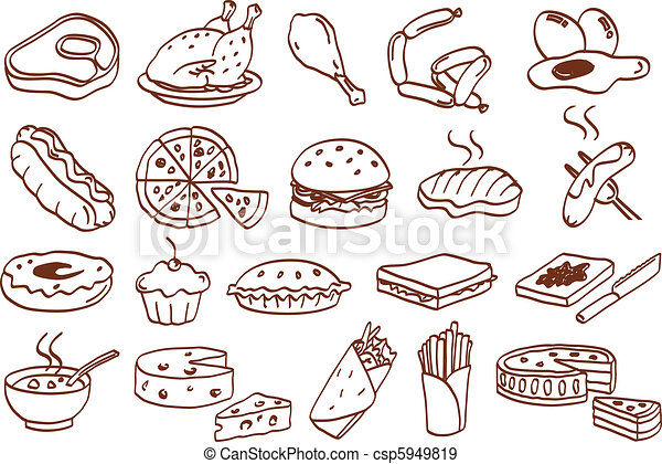 nourriture, ensemble, icône - csp5949819