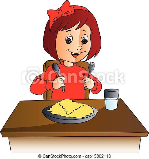 nourriture, girl, vecteur, table. - csp15802113