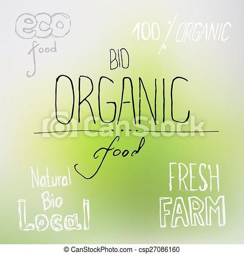 nourriture, lettrage, organique - csp27086160