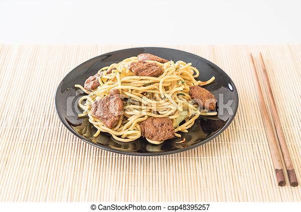 nourriture, nouille, -, vegan, frit - csp48395257