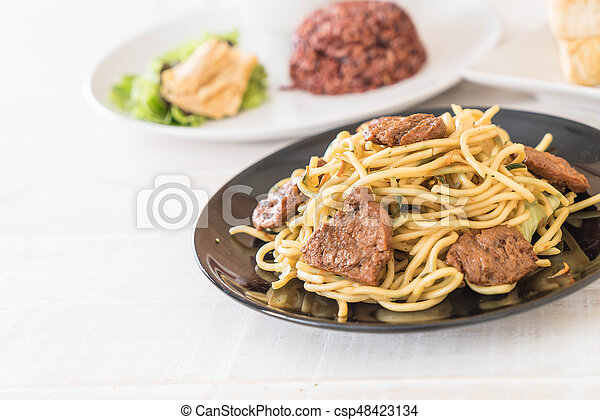 nourriture, nouille, -, vegan, frit - csp48423134