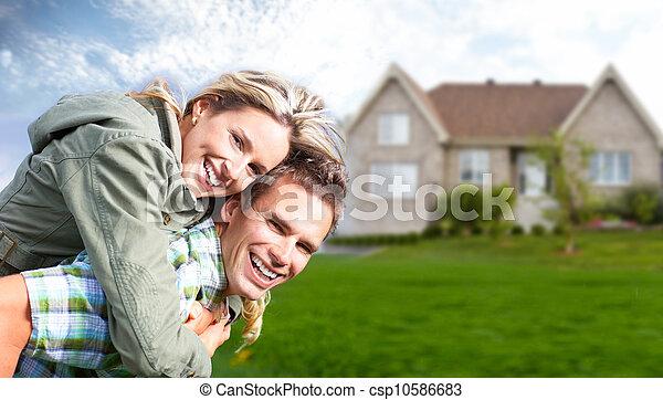 nouveau, house., famille, heureux - csp10586683