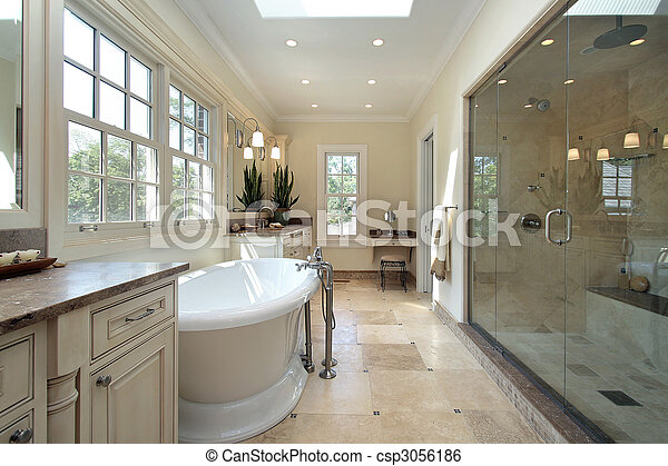 nouveau, salle bains, construction, maître, maison - csp3056186