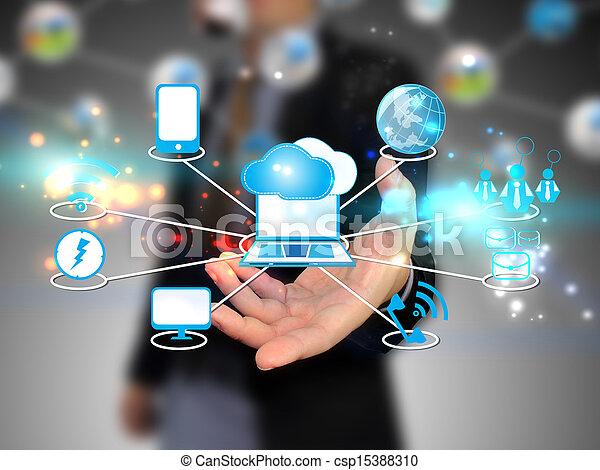 nuage, tenue, homme affaires, technologie, calculer, concept - csp15388310