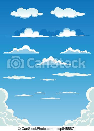nuages, dessin animé, ensemble - csp8455571