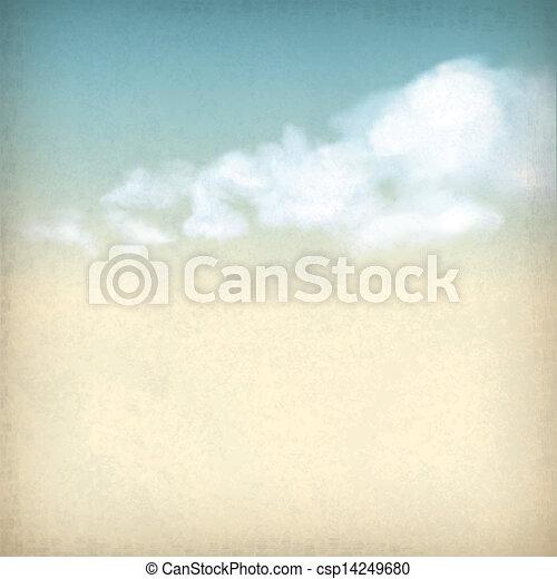 nuages, vendange, ciel, papier, fond, textured, vieux - csp14249680