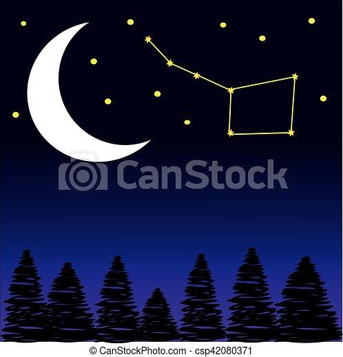 nuit, étoiles, arbres, lune - csp42080371