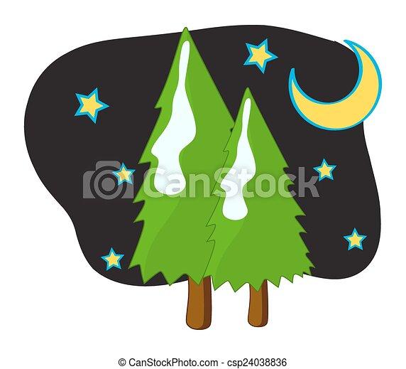 nuit, étoiles, arbres, lune - csp24038836
