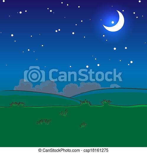 nuit, paysage, étoiles, lune - csp18161275