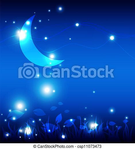 nuit, paysage, lune - csp11073473