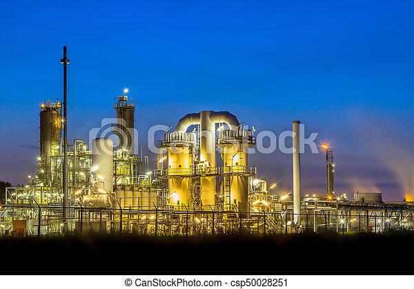 nuit, usine, chimique, industriel, scène - csp50028251