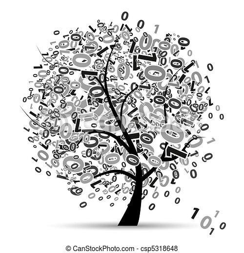 numérique, arbre, nombres, silhouette - csp5318648